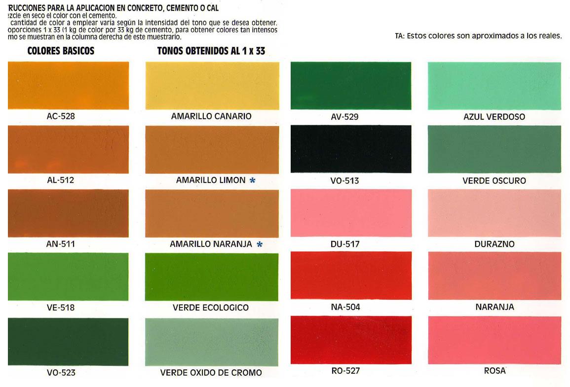 Venta de color para cemento materiales for Muestrario de colores